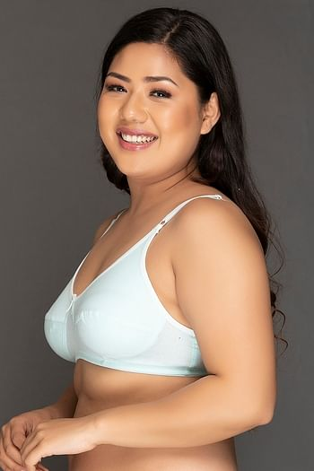 Back listing image for Non-Padded Non-Wired Full Cup Bra In Light Blue - Cotton