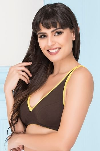 Back listing image for Cotton Non-Padded Wirefree Demi Cup Bra - Brown