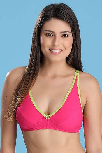 Front listing image for Cotton Non-Padded Wirefree Demi Cup Bra - Pink