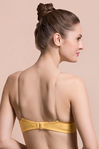 Back listing image for Cotton Non-Padded Wirefree Tube Bra With Detachable Transparent Straps - Yellow