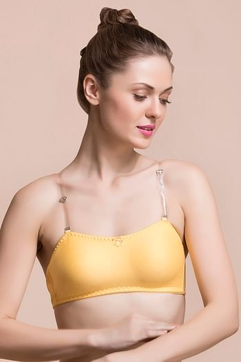 Front listing image for Cotton Non-Padded Wirefree Tube Bra With Detachable Transparent Straps - Yellow