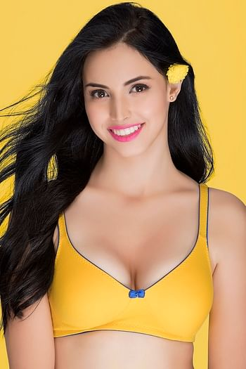 Back listing image for Cotton Non-Wired Non-Padded Everyday Bra In Yellow With Demi Cups