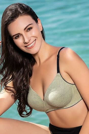 Front listing image for Cotton Padded Non-Wired Multiway Push-Up T-Shirt Bra In Green Melange