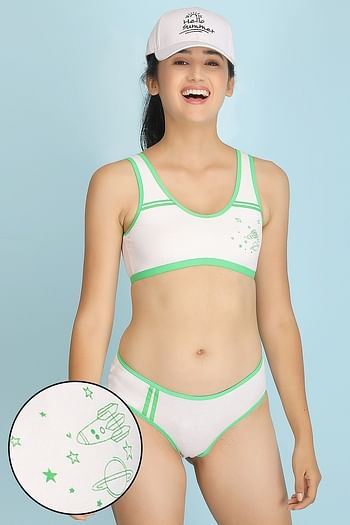 Front listing image for Cotton Lightly Padded Non-Wired Printed Teenage Bra & Bikini Panty - White & Green