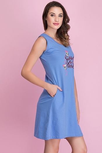 Back listing image for Cotton Powerpuff Print Short Night Dress In Dusty Blue