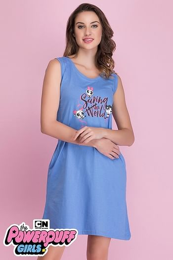 Front listing image for Cotton Powerpuff Print Short Night Dress In Dusty Blue