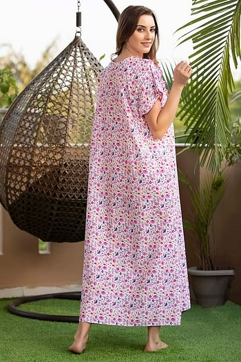 Back listing image for Floral Print Long Night Dress In Pink - Cotton