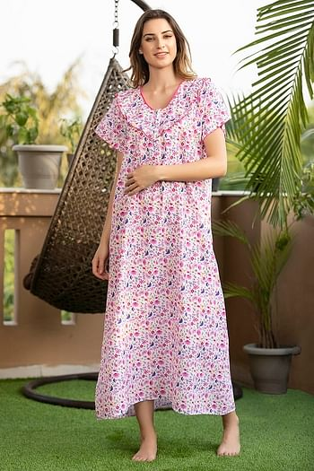 Front listing image for Floral Print Long Night Dress In Pink - Cotton