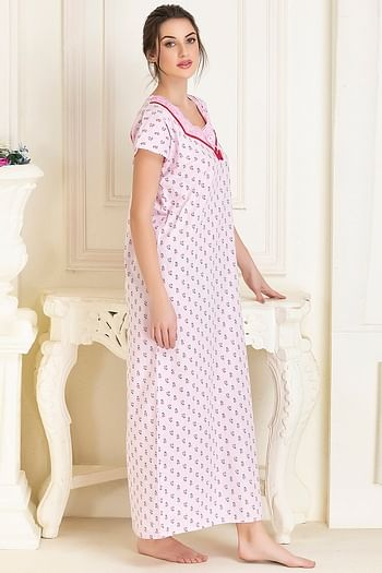 Back listing image for Cotton Printed Long Night Dress In Pink