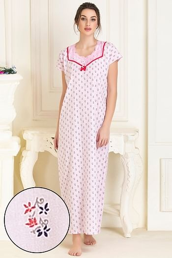Front listing image for Cotton Printed Long Night Dress In Pink