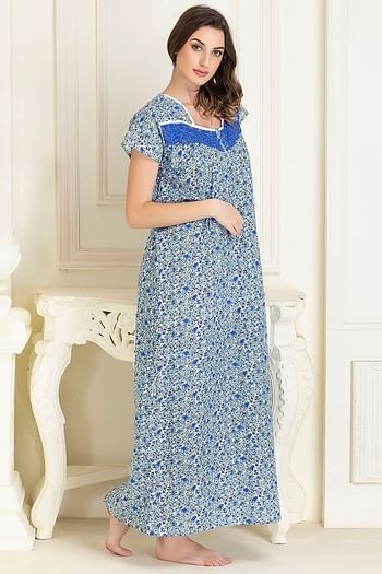 Back listing image for Cotton Printed Long Night Dress In Blue