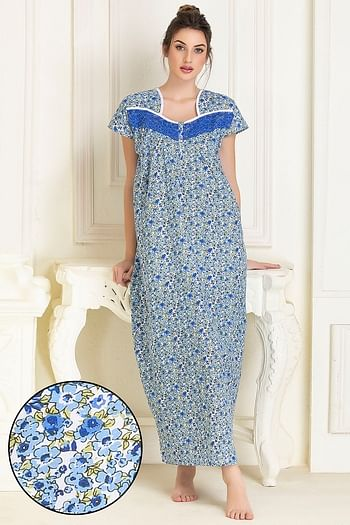 Front listing image for Cotton Printed Long Night Dress In Blue