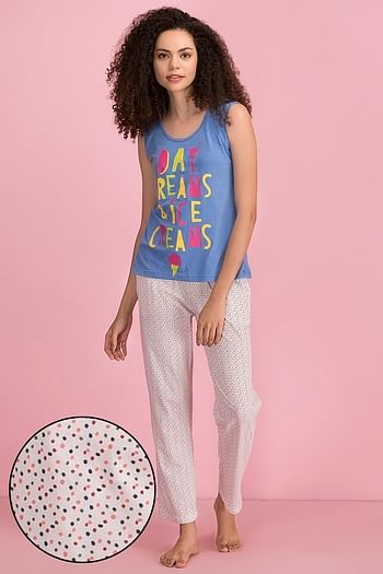 Front listing image for Cotton Printed Top & Pyjama Set