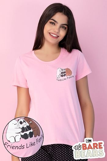 Front listing image for Cotton Rich Bear Print Top In Pink