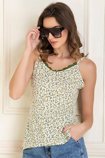 Back listing image for Cotton Rich Floral Print Camisole In White