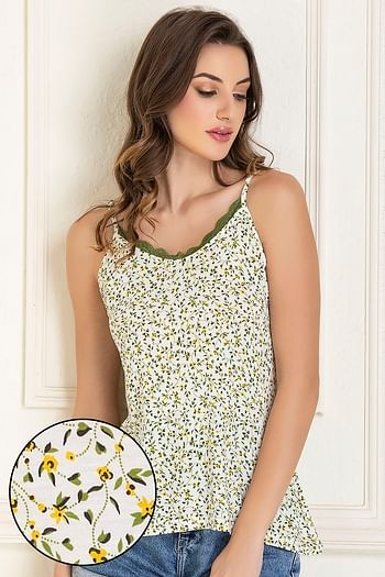 Front listing image for Cotton Rich Floral Print Camisole In White