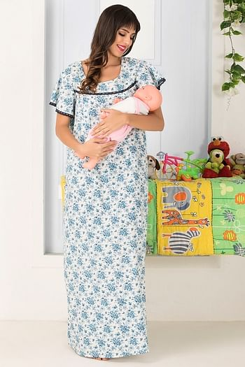 Front listing image for Cotton Rich Floral Print Maternity Night Dress