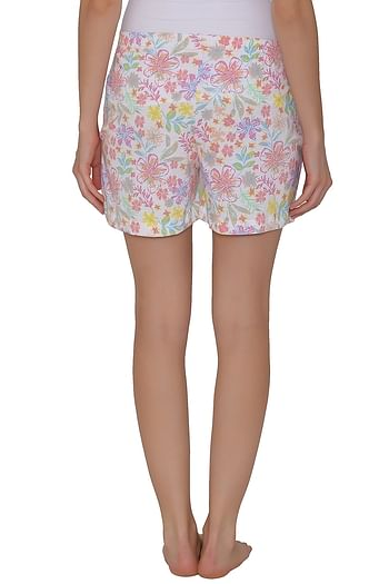 Back listing image for Cotton Rich Floral Print Shorts In White