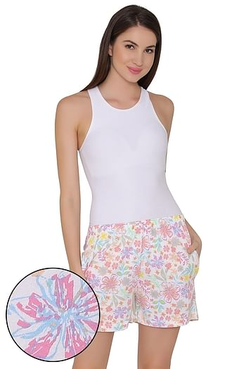 Front listing image for Cotton Rich Floral Print Shorts In White
