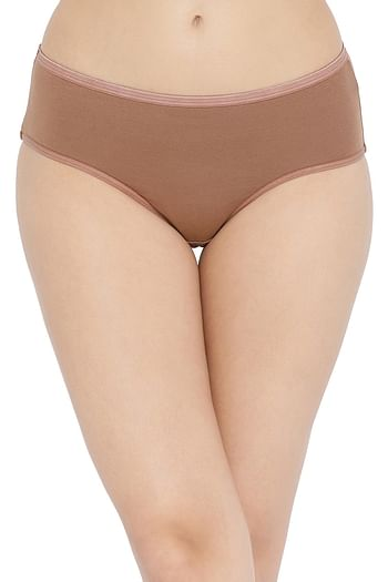 Front listing image for Cotton Mid Waist Hipster Panty In Brown