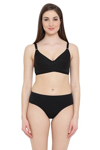 Front listing image for Cotton Rich Non-padded Bra & Hipster Panty Set in Black