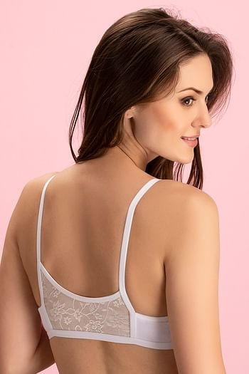 Back listing image for Cotton Rich Non-Padded Front Open Plunge Bra In White