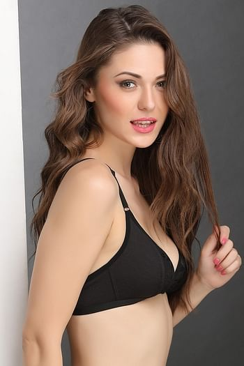 Back listing image for Cotton Rich Non-Padded Front Open Plunge Bra In Black