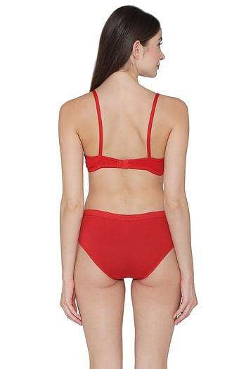 Back listing image for Cotton Rich Non-Padded Non-Wired T-Shirt Bra & Hipster Panty Set in Red