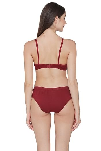 Back listing image for Cotton Rich Non-Padded Non-Wired T-Shirt Bra & Hipster Panty Set in Maroon