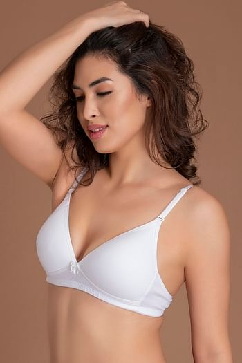 Back listing image for Cotton Padded Non-Wired Plunge T-Shirt Bra