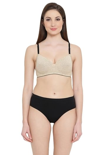 Front listing image for Cotton Rich Padded Non-Wired Push-Up Level 1 Multiway T-Shirt Bra & Hipster Panty Set