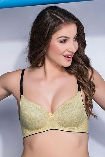 Front listing image for Cotton Rich Padded Non-Wired Push-Up Multiway T-Shirt Bra In Nude Melange