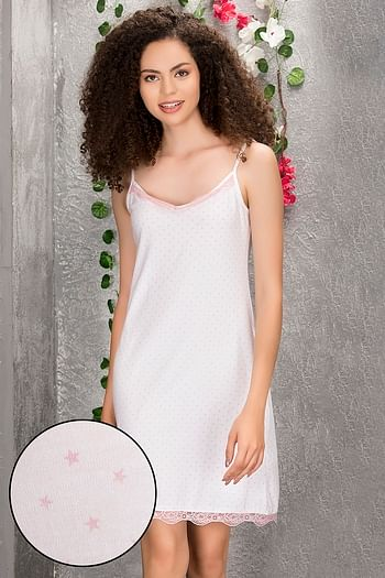 Front listing image for Cotton Rich Polka Print Short Night Dress In White