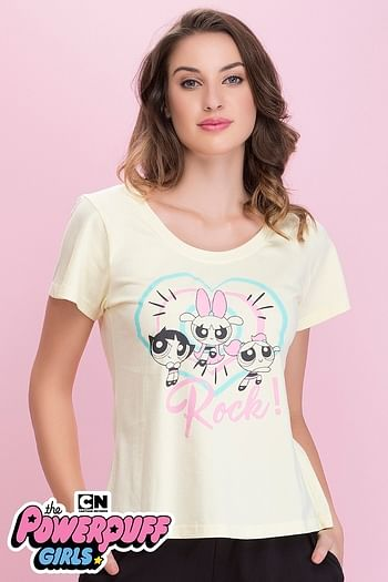Front listing image for Cotton Rich Powerpuff Girls Print Top In Yellow