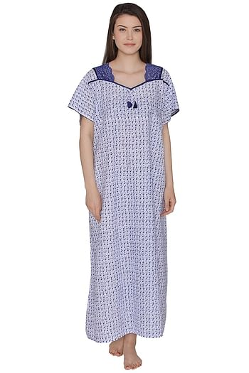 Front listing image for Cotton Rich Printed Long Night Dress In Blue