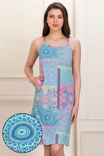 Back listing image for Cotton Rich Printed Short Night Dress with Crossback