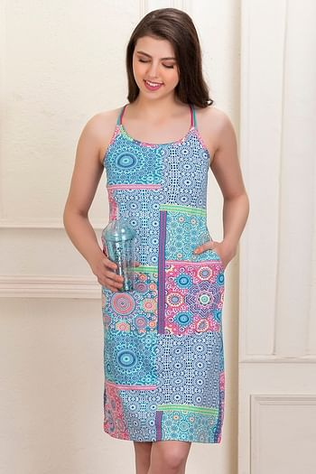 Front listing image for Cotton Rich Printed Short Night Dress with Crossback