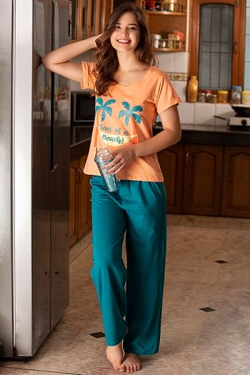 Front listing image for Cotton Rich Printed Top & Pyjama