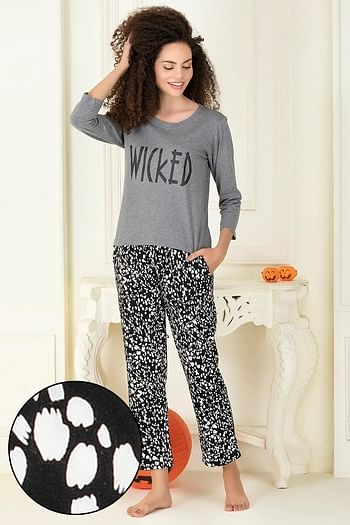 Front listing image for Cotton Rich Printed Full Sleeves Top & Pyjama Set