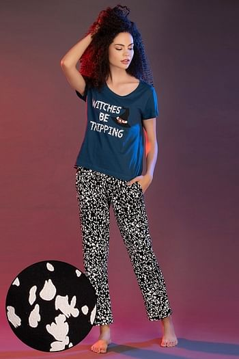 Front listing image for Cotton Rich Printed Top & Pyjama Set