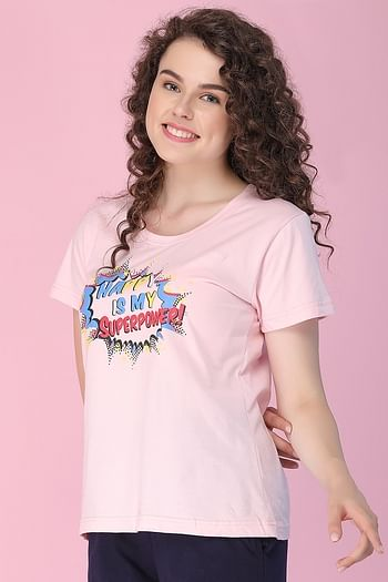 Back listing image for Cotton Rich Text Print Top In Pink