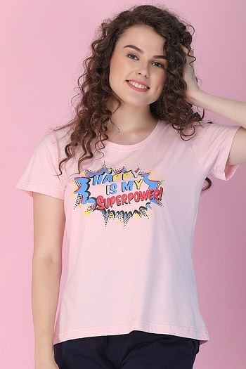 Front listing image for Cotton Rich Text Print Top In Pink