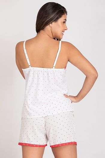 Back listing image for Crepe Printed Top and Shorts In White