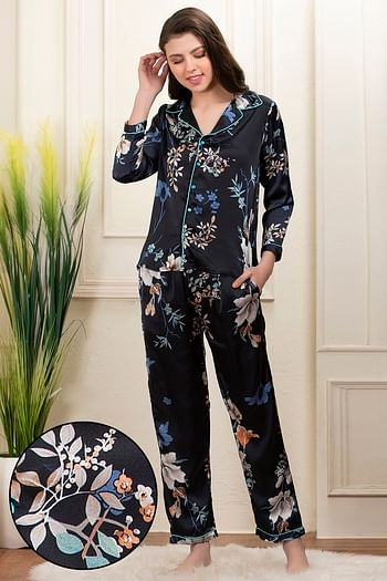 Back listing image for  Floral Print Button Down Shirt & Pyjama Set in Navy Blue - Satin