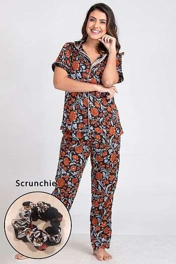 Front listing image for Floral Print Button Down Shirt & Pyjama Set with Scrunchie in Black - Satin