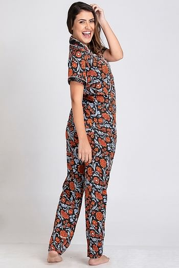 Back listing image for Floral Print Button Down Shirt & Pyjama Set with Scrunchie in Black - Satin
