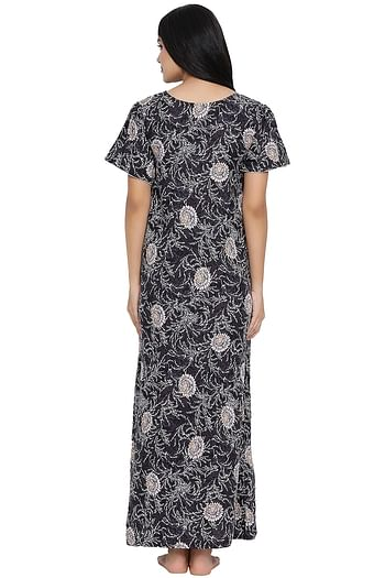 Back listing image for Floral Print Night Dress in Black - Cotton Rich