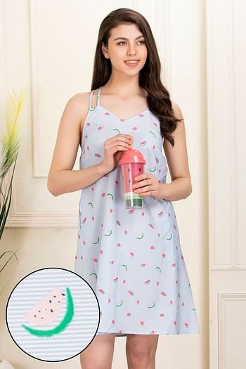 Front listing image for Fruit Print Night Dress in Blue - Cotton Rich