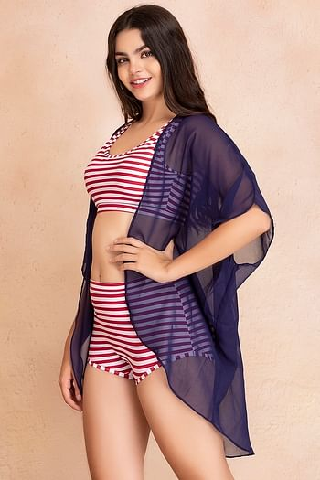 Back listing image for Georgette Kimono Front Open Beach Cover Up In Blue