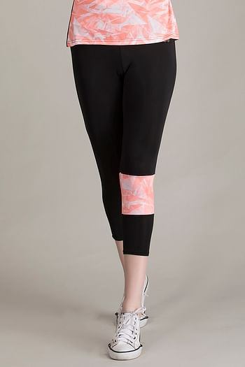 Front listing image for Gym/Sports Activewear Printed Capri in Orange & Black